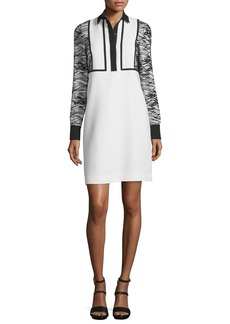 J. Mendel Long-Sleeve Collared Cocktail Dress