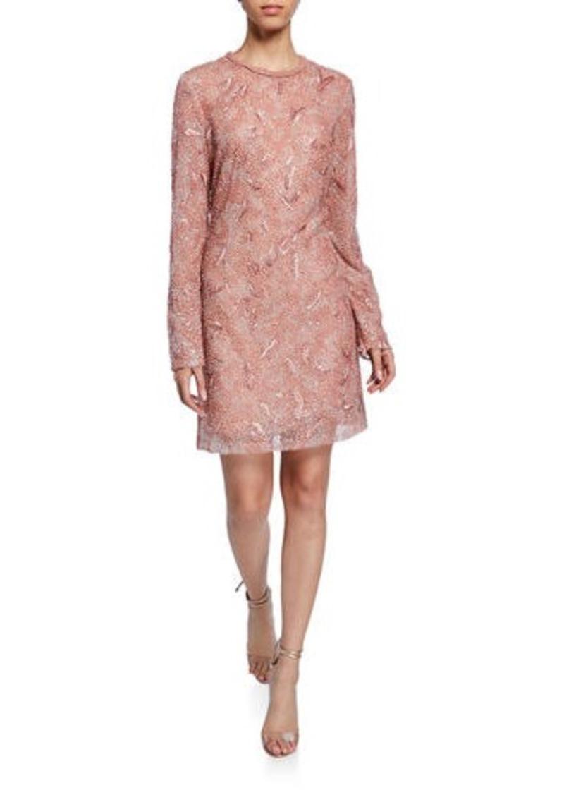 J. Mendel Long-Sleeve Embroidered Mini Dress