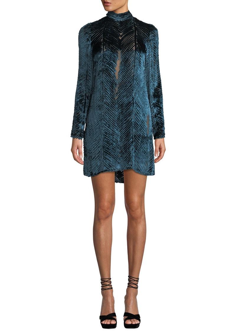 J. Mendel Long-Sleeve High-Neck Velvet Burnout Cocktail Dress