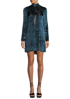 J. Mendel Long-Sleeve High-Neck Velvet Burnout Cocktail Dress