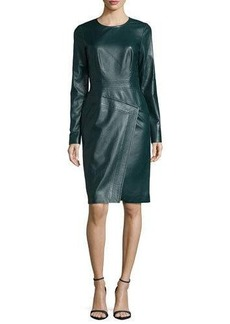 J. Mendel Long-Sleeve Jewel-Neck Sheath Dress