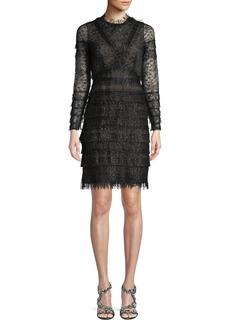 J. Mendel Long-Sleeve Metallic Lace Cocktail Dress
