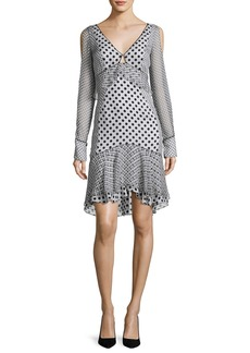 J. Mendel Long-Sleeve Mixed Polka-Dot Dress