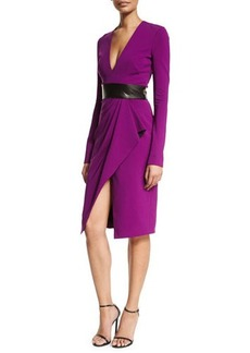 J. Mendel Long-Sleeve V-Neck Cocktail Dress