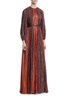 J. Mendel Metallic Chiffon Pleated Long-Sleeve Gown