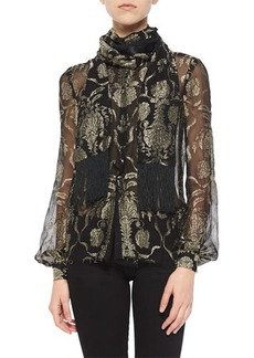 J. Mendel Metallic-Embroidered Wrap-Collar Blouse