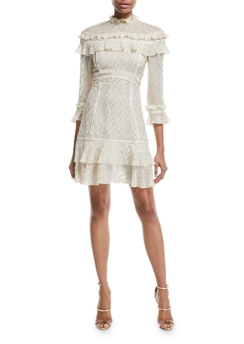 J. Mendel Metallic-Print Ruffle Mid-Length Dress