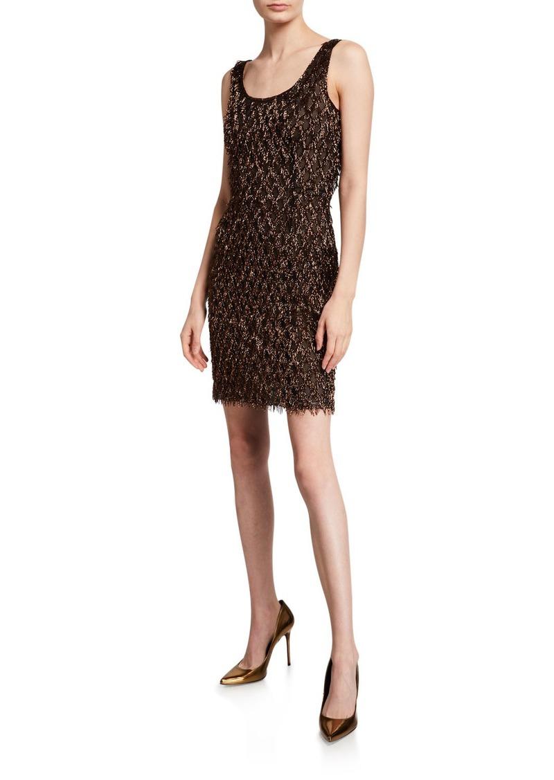 J. Mendel Metallic Striped-Mesh Cocktail Dress