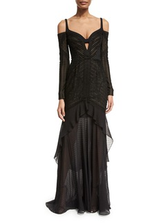 J. Mendel Mixed-Lace Cold-Shoulder Gown