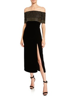 J. Mendel Off-the-Shoulder Dome-Studded Midi Dress
