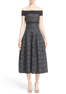 J. Mendel Off the Shoulder Dress with Full Tea-Length Skirt
