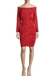 J. Mendel Off-The-Shoulder Lace Sheath Dress