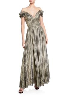 J. Mendel Off-the-Shoulder Pleated Gown