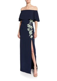J. Mendel Off-the-Shoulder Ruffled Gown