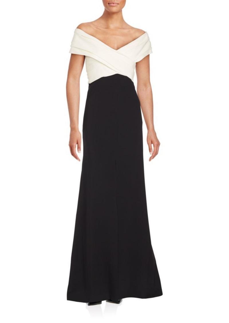J. Mendel Off-the-Shoulder Silk Trumpet Gown