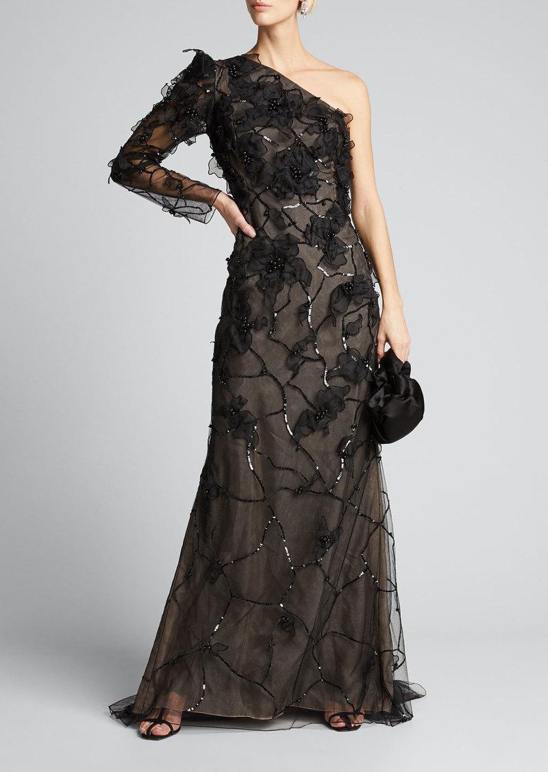 J. Mendel One-Shoulder Embroidered Gown