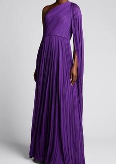 J. Mendel One-Shoulder Pleated Silk Gown