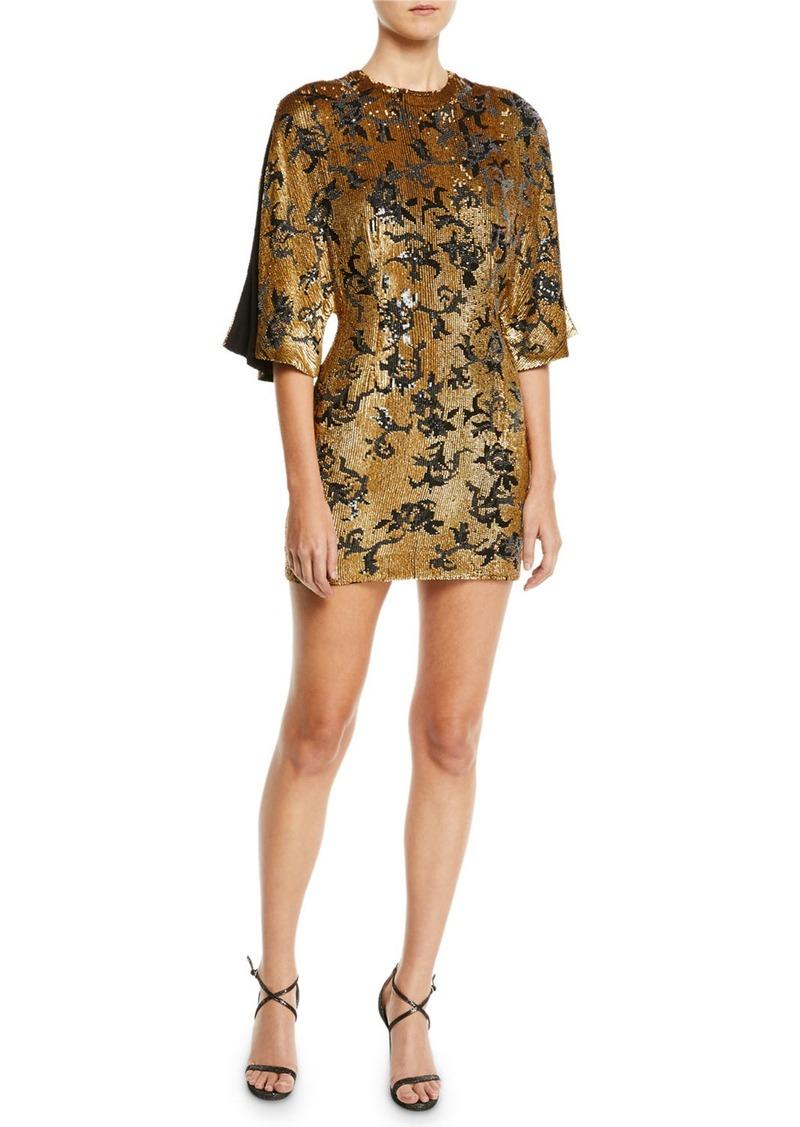 J. Mendel Open-Sleeve Sparkle Mini Dress