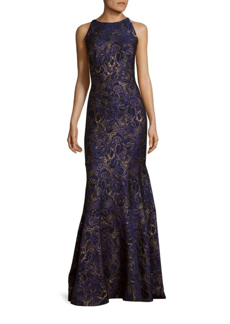 J. Mendel Paisley Embroidered Silk Trumpet Gown