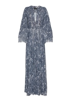 J. Mendel Patterned Pleat-Accented Silk Gown