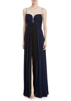 J. Mendel Pleated Bicolor Chiffon Gown