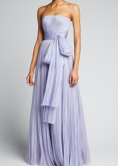 J. Mendel Pleated Bow Strapless Gown