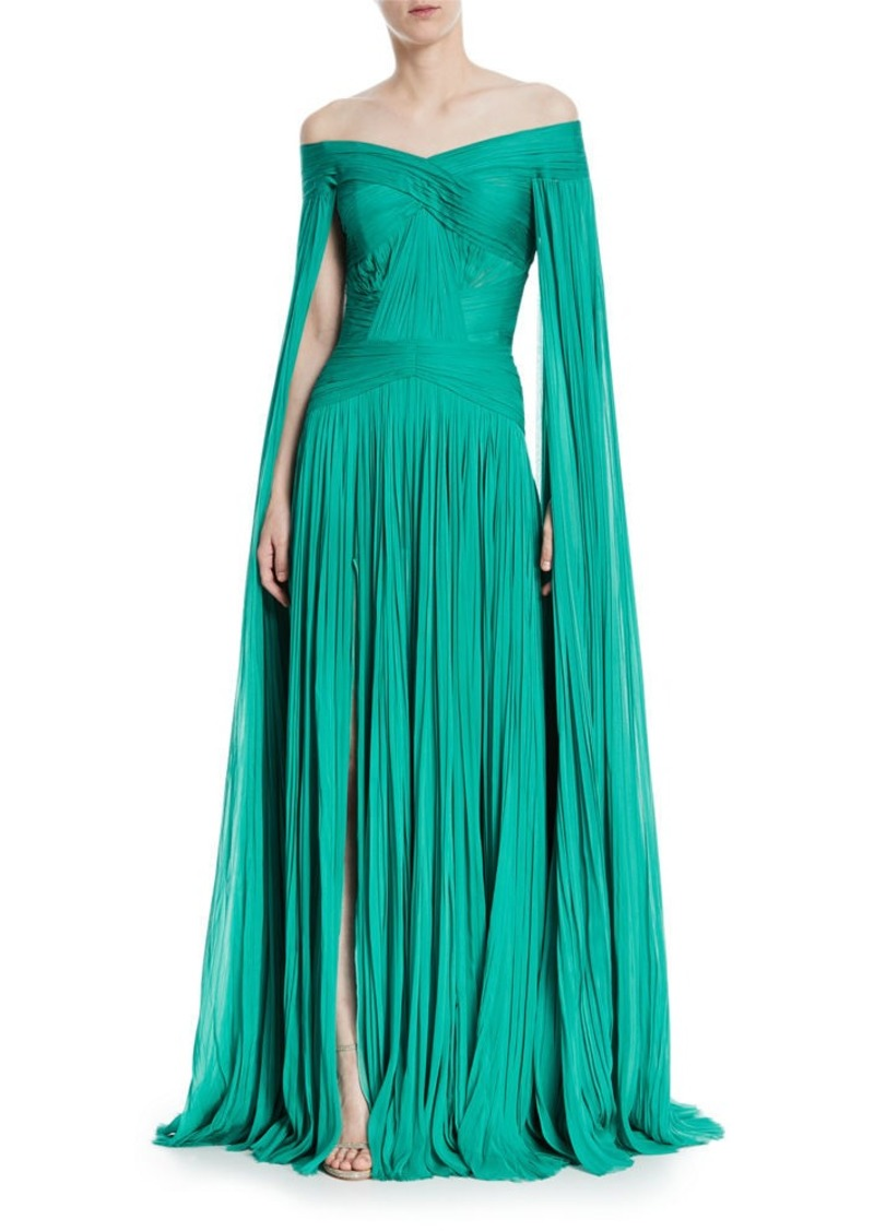 J. Mendel J. Mendel Pleated Chiffon Cape-Sleeve Gown | Dresses