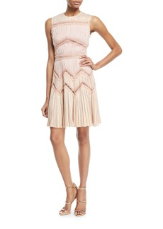 J. Mendel Pleated Dress w/ Symmetrical Lace Cutouts