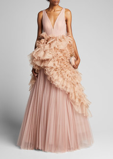 J. Mendel Pleated Tulle Gown with Ruffled Organza Peplum