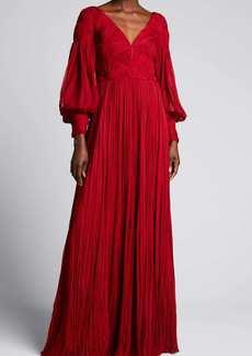 J. Mendel Pleated V-Neck Silk Gown