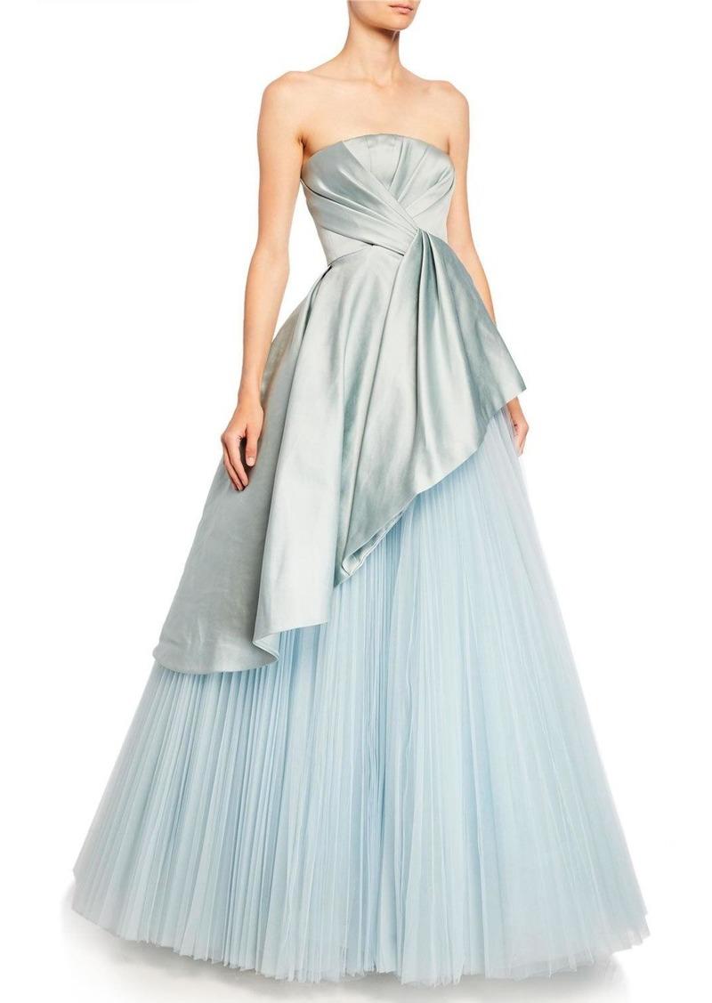 J. Mendel Satin-Bodice Tulle-Skirt Ball Gown
