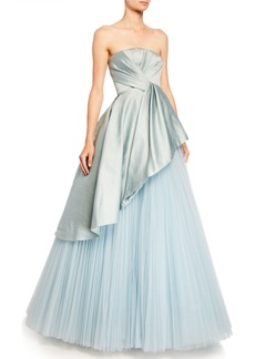 J. Mendel Satin-Bodice Tulle-Skirt Ball Gown