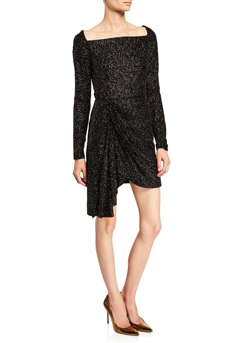 J. Mendel Shimmer Knit Square-Neck Mini Dress