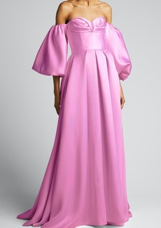 J. Mendel Shimmered Silk-Jersey Gown with Removable Sleeves