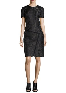 J. Mendel Short-Sleeve Embroidered Dress