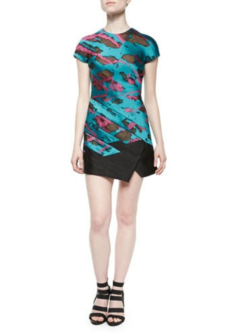J. Mendel Short-Sleeve Panel-Skirt Dress