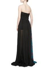 J. Mendel Side-Panel Strapless Silk Gown