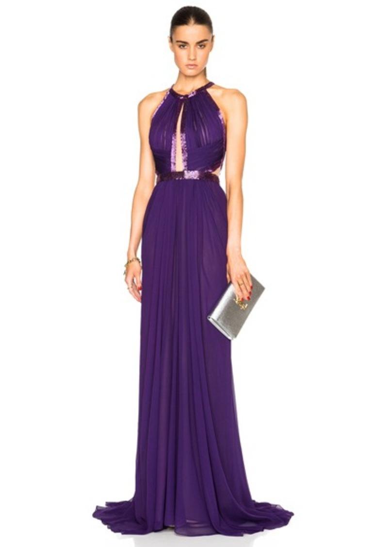 J. Mendel Silk Chiffon Halterneck Gown