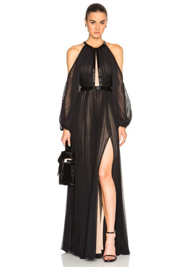 J. Mendel Silk Chiffon Halterneck Long Sleeve Gown
