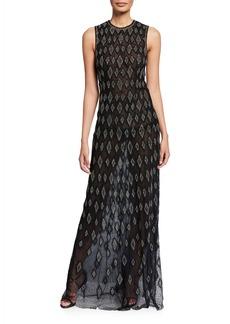 J. Mendel Silk Diamond-Embroidered Sleeveless Gown
