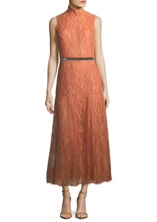 J. Mendel Sleeveless Beaded Turtleneck Lace Dress
