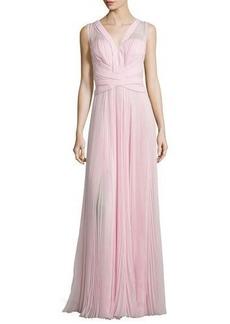 J. Mendel Sleeveless Crisscross-Waist Plisse Gown