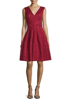 J. Mendel Sleeveless Lace Fit & Flare Dress