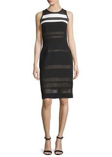 J. Mendel Sleeveless Mixed-Lace Sheath Dress