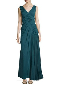 J. Mendel Sleeveless Plisse Draped Gown