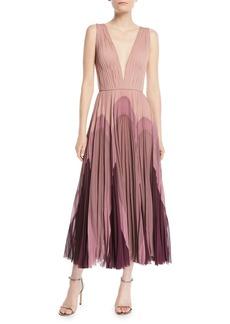 J. Mendel Sleeveless Plunging Pleated Silk Dress
