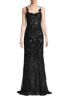 J. Mendel Sleeveless Scoop-Neck Embellished Evening Gown