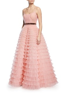J. Mendel Sleeveless Tiered Ruffled Tulle Ball Gown