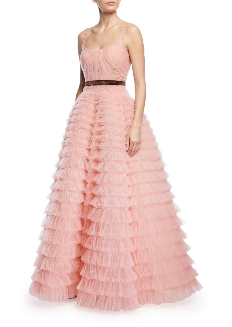 J. Mendel J. Mendel Sleeveless Tiered Ruffled Tulle Ball Gown | Dresses