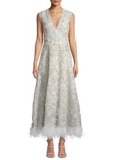 J. Mendel Sleeveless V-Neck Floral-Embroidered Feather Hem Gown